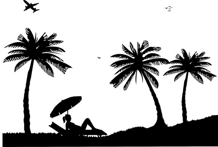 Silhouette of girl sunbathing on the beach next to the palms, one in the series of similar images Illustration