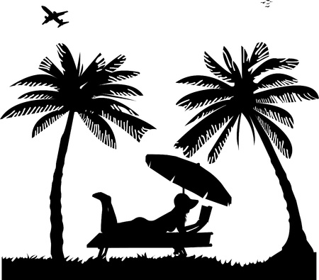 coastlines: Silhouette of girl sunbathing and reading book on the beach next to the palms, one in the series of similar images Illustration