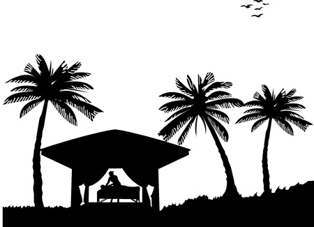 Spa massage on seacoast between the palms on the beach silhouette, one in the series of similar images Vector