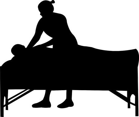 massage therapie: Spa massage silhouet, een in de reeks van soortgelijke foto's Stock Illustratie