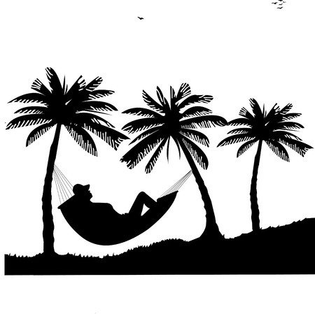 Silhouette of girl sunbathing and relaxing of hammock under the palm trees on beach, one in the series of similar images Vector