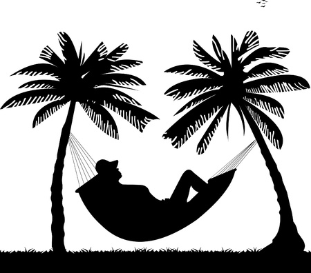 woman sleep:  Silhouette of girl sunbathing and relaxing of hammock under the palm trees on beach, one in the series of similar images Illustration