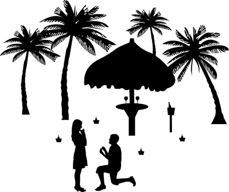 Romantic proposal on seacoast between the palms on the beach of a man proposing to a woman while standing on one knee silhouettes Vector