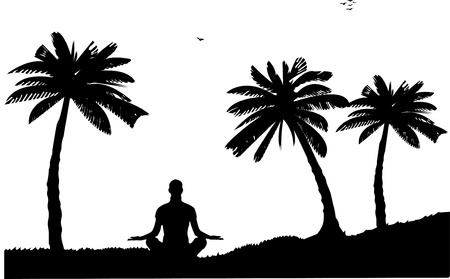introspection:  An isolated girl meditating and doing yoga exercise on seacoast between the palms on the beach silhouette, one in the series of similar images