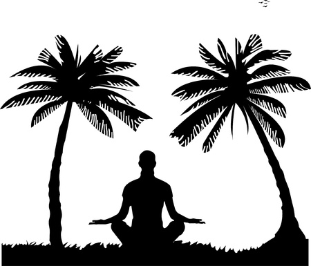 An isolated girl meditating and doing yoga exercise on seacoast between the palms on the beach silhouette, one in the series of similar images