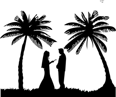palm reading: Wedding couple, groom and bride on seacoast between the palms on the beach silhouette, one in the series of similar images