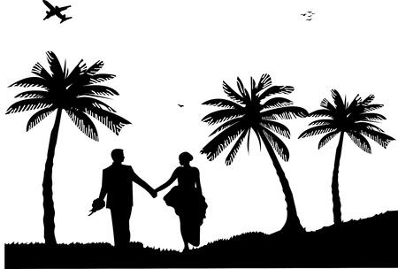 boda en la playa: Par de la boda, el novio y la novia en la costa entre las palmas de las manos sobre la silueta de playa, uno en la serie de im�genes similares