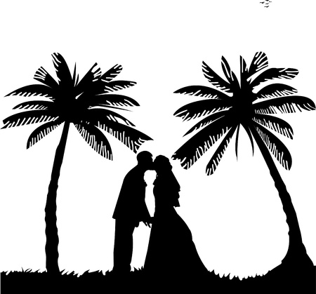 honeymoon: Wedding couple, groom and bride on seacoast between the palms on the beach silhouette, one in the series of similar images