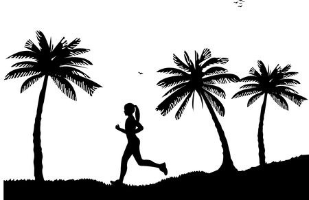 seacoast: Girl running on seacoast between the palms on the beach in summer silhouette