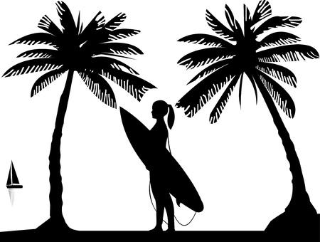 sun tan: Hermosa chica joven surfista de pie en la playa entre la silueta palmas de las manos, uno en la serie de im�genes similares Vectores