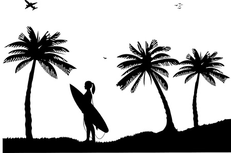 Beautiful young surfer girl standing on the beach between the palms silhouette, one in the series of similar images Stock Vector - 13552803