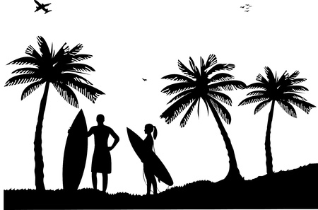 Beautiful young surfer girl and man standing on the beach between the palms silhouette, one in the series of similar images Vector