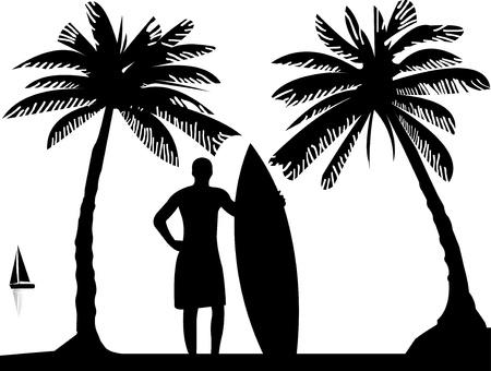 Hermoso hombre joven surfista de pie en la playa entre la silueta palmas de las manos, uno en la serie de imágenes similares