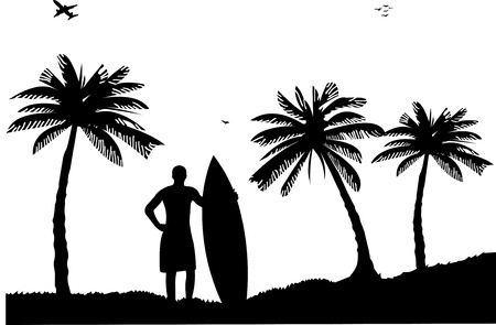 sun tanning: Beautiful young surfer man standing on the beach between the palms silhouette, one in the series of similar images
