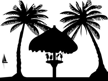 Cóctel zumo de frutas en la playa bajo la sombrilla entre las palmas de las manos silueta Ilustración de vector