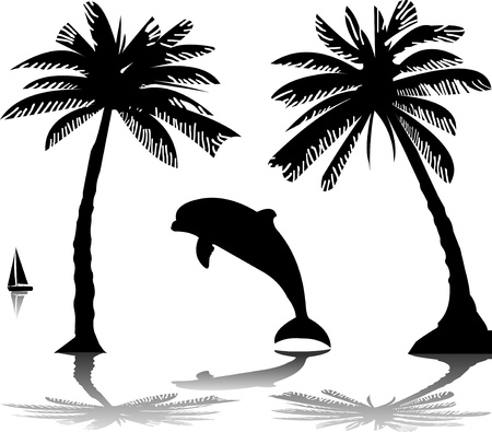 Silhouette of the dolphin jumping through a wave on island between the palms, one in the series of similar images Vector