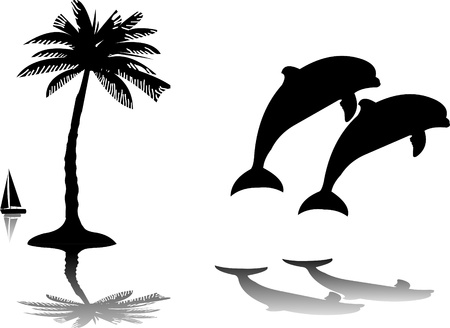 Silhouette of the dolphins jumping through a wave on island next to the palm, one in the series of similar images Vector