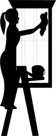 Jeune femme de nettoyage avec la silhouette de ses fenêtres éponge