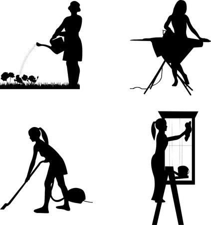 vacuuming: Le ragazze e le casalinghe in lavori differenti silhouette Vettoriali