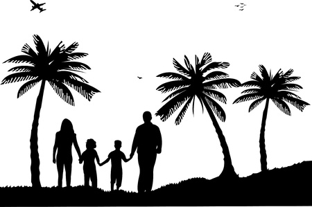 Family walking on beach between the palms silhouette Stock Vector - 13656804