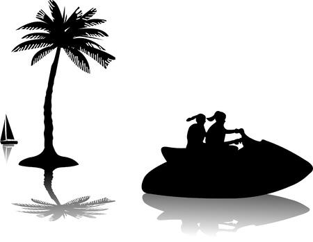 moto acuatica: Las ni�as de montar una moto acu�tica en el agua cerca de las palmeras silueta