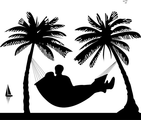 romantic getaway: Silhouette of romantic couple sun bathing and relaxing of hammock under the palm trees on beach