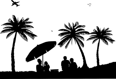 Family picnic between the palm trees on beach, one in the series of similar images silhouette  Vector