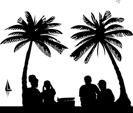 Family picnic between the palm trees on beach, one in the series of similar images silhouette Stock Vector - 13748109