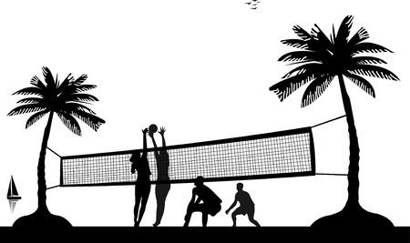Niños y niñas jugando voleibol en la playa entre las palmeras silueta Ilustración de vector