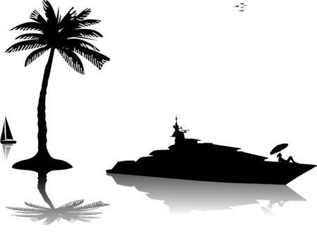 Young woman in bikini sunbathing on luxury yacht on the sea at sunny day silhouette Vector