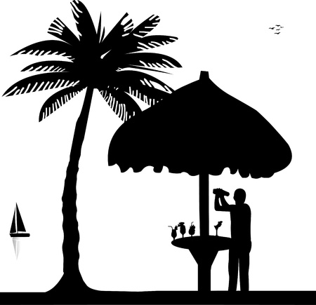 Bartender with cocktail shaker in drinking bar make cocktails on seacoast silhouette Vector