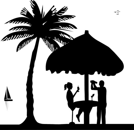barkeeper: Girl drink cocktail and bartender with cocktail shaker in drinking bar make cocktails on seacoast silhouette