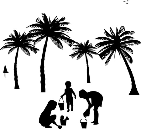 Kids playing on beach silhouette, one in the series of similar images Stock Vector - 13864853