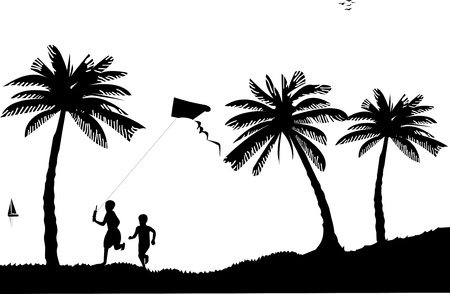 Silhouette of running boys with flying kite on the beach Stock Vector - 13909191
