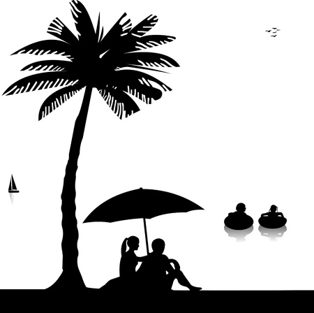 Little kids swim in the sea and the parents sit on the seashore under the palm trees silhouette Stock Vector - 13909190
