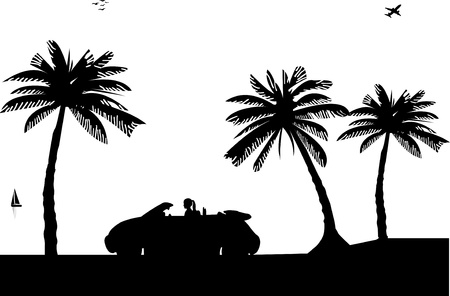 Girl drives a convertible car on the beach silhouette Vector