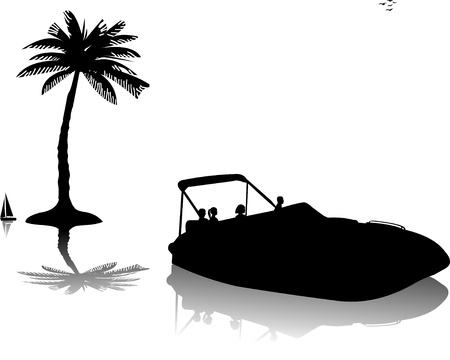 happy couple beach: Men and women riding in speedboat on water near the palm trees silhouette