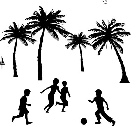 Little boys playing with ball, football on summer between the palms tree silhouette, one in the series of similar images Vector