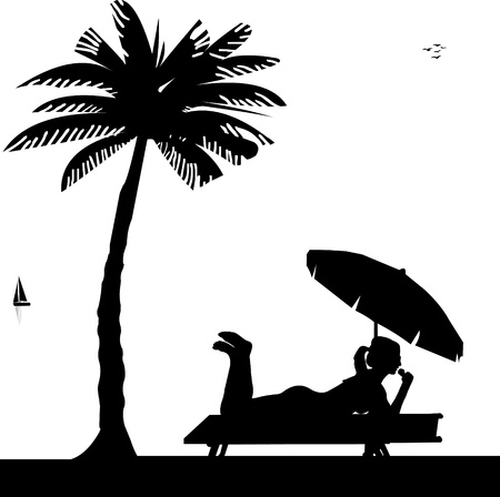 Silhouette of girl with ice cream and sunbathing on the beach under palm tree Vector