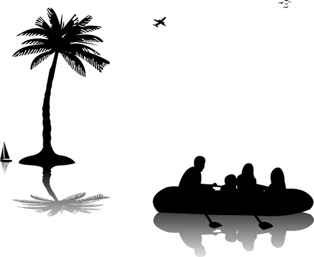 adrenalin: Family in inflatable boat rowing on water near the palm trees silhouette