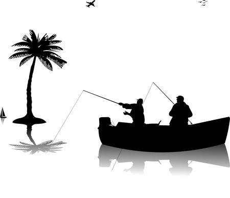 redes de pesca: Dos pescadores en un barco de pesca cerca de la silueta de la palmera