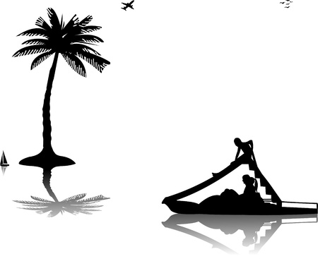 water slide: Family on pedal boat with slide in sea near the palm trees silhouette