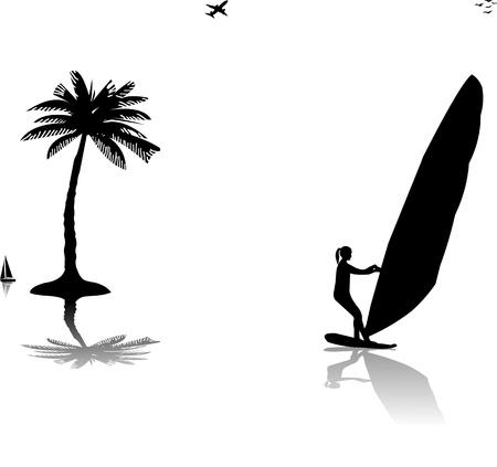 windsurf: Siluetas de una mujer windsurfista en la puesta del sol cerca de la palmera