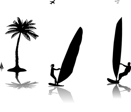 wind surfing: Silhouettes of woman and man windsurfers at the sunset near the palm tree