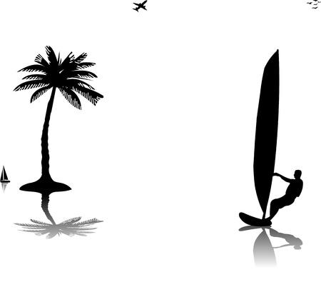 Silhouettes de planche à voile homme au coucher du soleil près de l'arbre de palme, un dans la série des images similaires