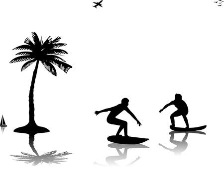 chica surf: El hombre y la mujer joven hermosa que navegar cerca de las palmas de las manos silueta, uno en la serie de im�genes similares Vectores