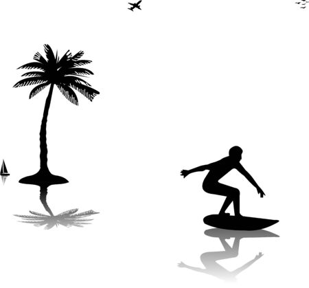 Beautiful young man surfing near the palms silhouette, one in the series of similar images Stock Vector - 14114269