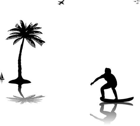 Beautiful young woman surfing near the palms silhouette, one in the series of similar images  Vector