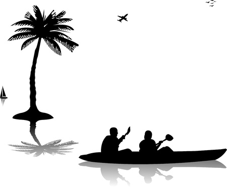 kayaking: Man and woman kayaking  near the palm trees silhouette Illustration