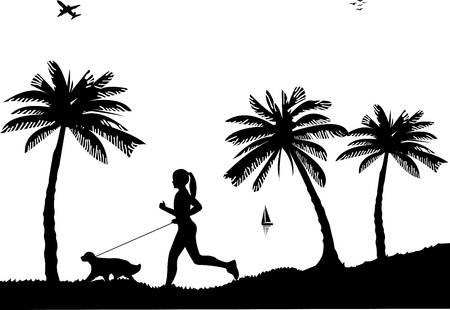 dog walk: Girl running a dog on beach in summer silhouette, one in the series of similar images
